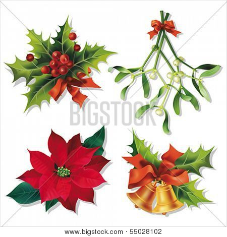 Christmas traditional symbols isolated on white. Vector eps10.
