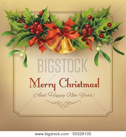 Christmas vintage card with bells and holly garland. Vector eps10.