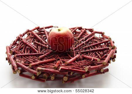 Fresh Red Apple on Wooden Underlay