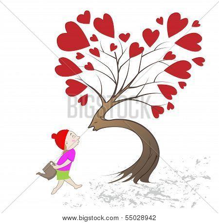 Girl Giving Kiss The Tree