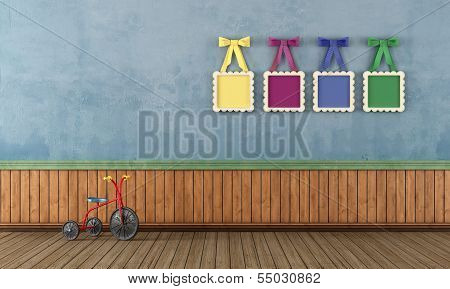 Blue Vintage Play Room With Tricycle