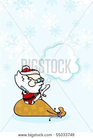 Santa with a list under a snowfall