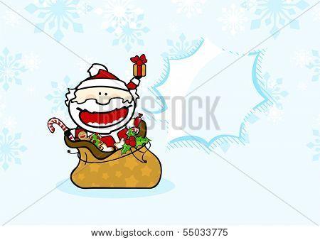 Santa with presents under a snowfall