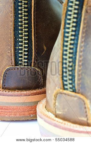 leather boot with zipper