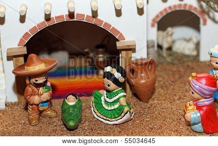 Mexican Hispanic Nativity With Joseph With A Sombrero
