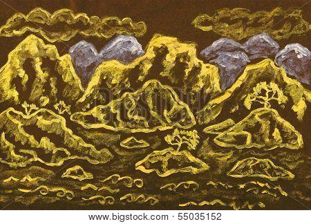 Golden Hills, Painting