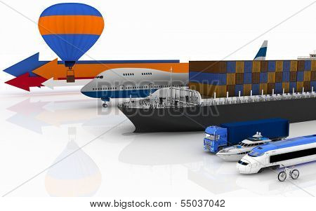 types of transport.  3d illustration on white background.