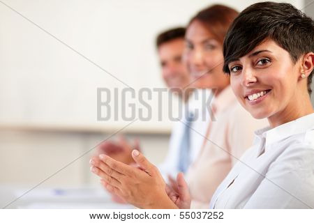 Adult Coworker Team Smiling And Giving Applause