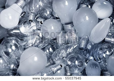Old Light Bulbs in  garbage can