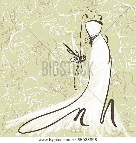 art sketch of beautiful young  bride with the bride's bouquet on floral sepia background with space for text; #45