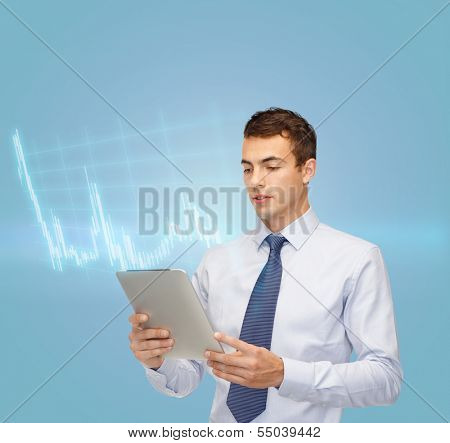 business, communication, modern technology, money and office concept - buisnessman with tablet pc and forex chart