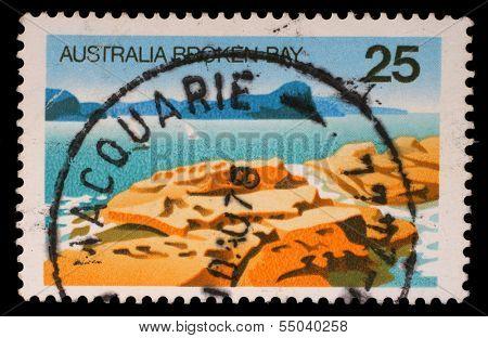 AUSTRALIA - CIRCA 1976: A Stamp sheet printed in AUSTRALIA shows the Broken Bay, New South Wales, Australian Scenes series, circa 1976
