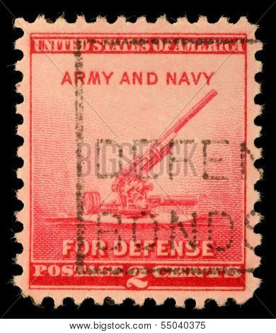 UNITED STATES - CIRCA 1940: stamp printed by United states, shows 90-millimeter Antiaircraft Gun, circa 1940.