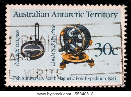 AUSTRALIA - CIRCA 1984: Stamp printed in the Australia, Australian Antarctic Territory shows 75th Anniversary South Magnetic Pole Expedition, circa 1984