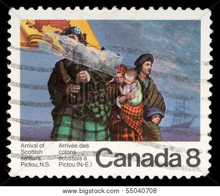 CANADA - CIRCA 1973: stamp printed by Canada, shows Scottish Settlers, circa 1973
