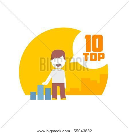 man viewing top 10. flat design concept