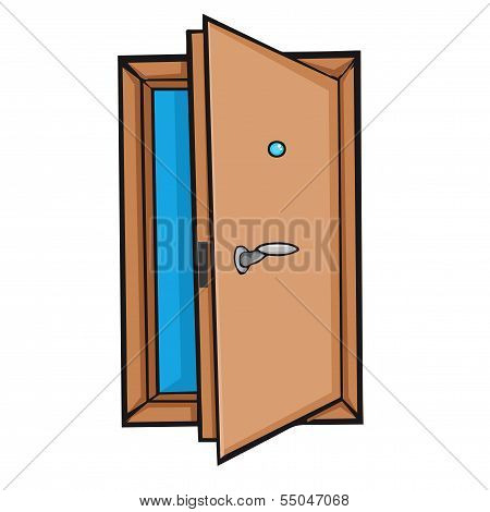 open door. Style cartoon.