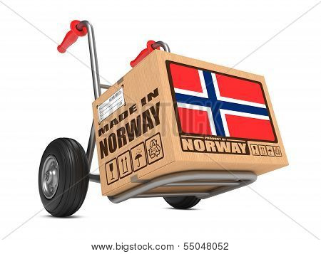 Made in Norway - Cardboard Box on Hand Truck.