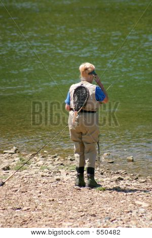 Woman Getting Ready To Fish