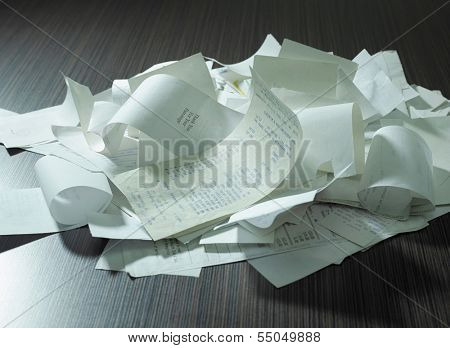 receipts on the table top