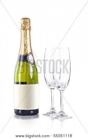 champagne bottle and two glasses on white background