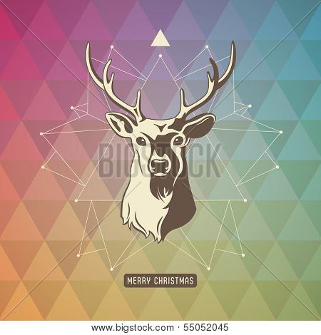 christmas background with geometrical pattern, three-dimensional star-shape and deer