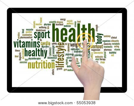 Concept or conceptual abstract health word cloud with a hand on touch screen on white background