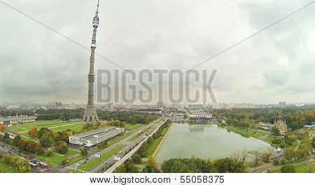 Ostankino TV Tower at cloudy day in Moscow, Russia. View from unmanned quadrocopter.