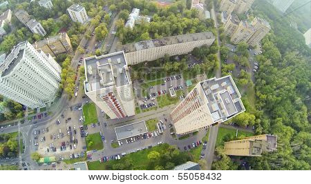 Above view of two high residential buildings in neighborhood. View from unmanned quadrocopter.
