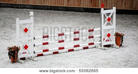Red White Obstacle For Jumping Horses on Riding Competition