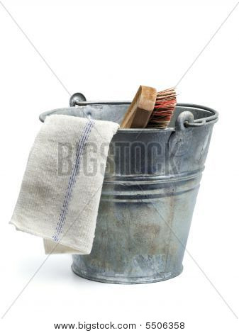 Tin Bucket, Rug And Scrubber