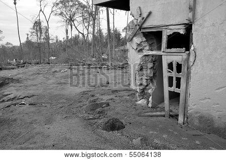 Village Damaged at Devastated Area