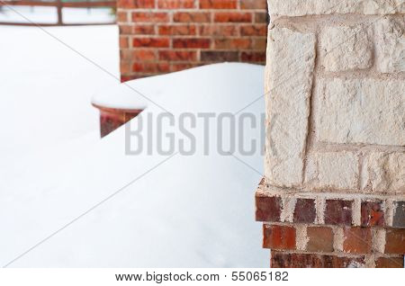 Brick Residential Home In Snow