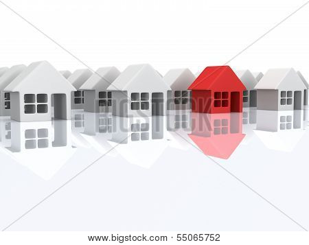 White blank houses and red one with reflection