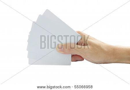 Hand hold five blank cards on white background.