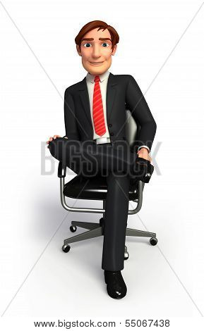 Young Business man is sitting on the chair