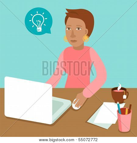 Vector Character Working On Her Laptop