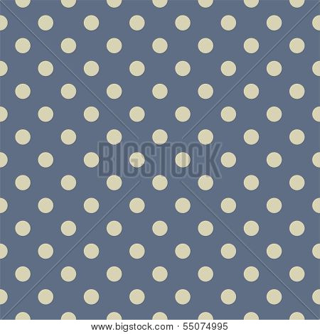 Retro seamless vector pattern or texture with big light beige, polka dots on pastel blue background