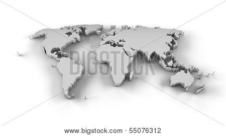 World map 3D silver with clipping path