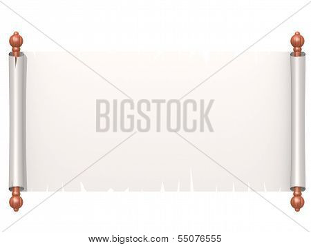 White scroll paper isolated on white