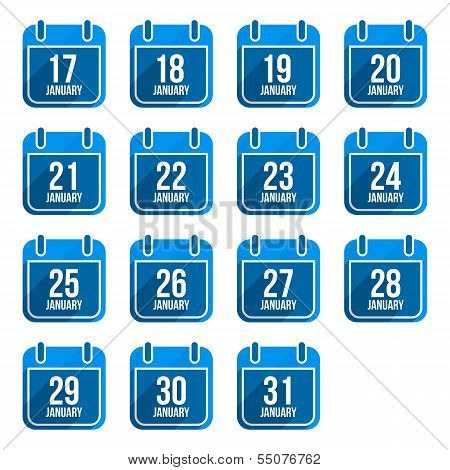 January vector flat calendar icons with long shadow. Calendar Days Of Year Set 8