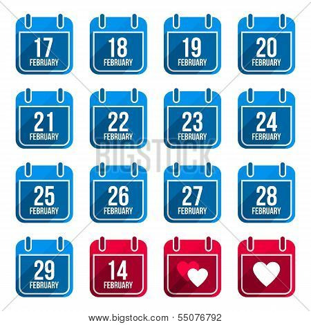 February vector flat calendar icons with long shadow. Calendar Days Of Year Set 10