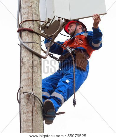 Electrician Opened The Control Panel On The Pole Reclosers