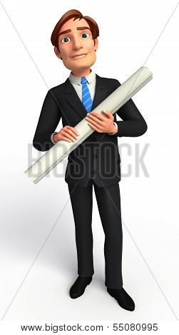 Young Business man with chart paper