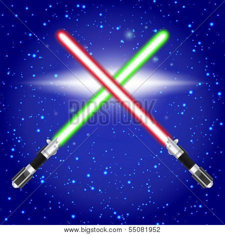 Crossed light sabers.