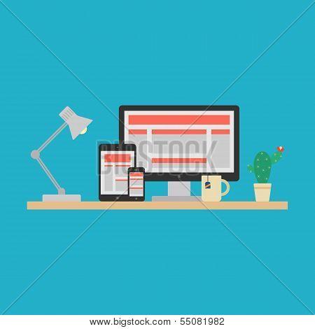 Responsive Web Design Concept. Vector