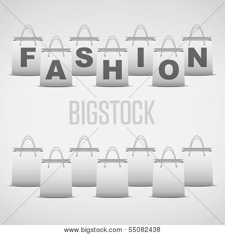 Background shopping bag and inscription fashion