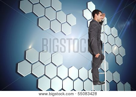 Composite image of happy businessman standing on ladder peering
