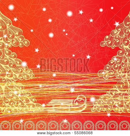 Bright Christmas Greeting Card With Sledge And Trees. Eps10