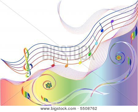 Music Background With Notes Staff. Vector Illustration